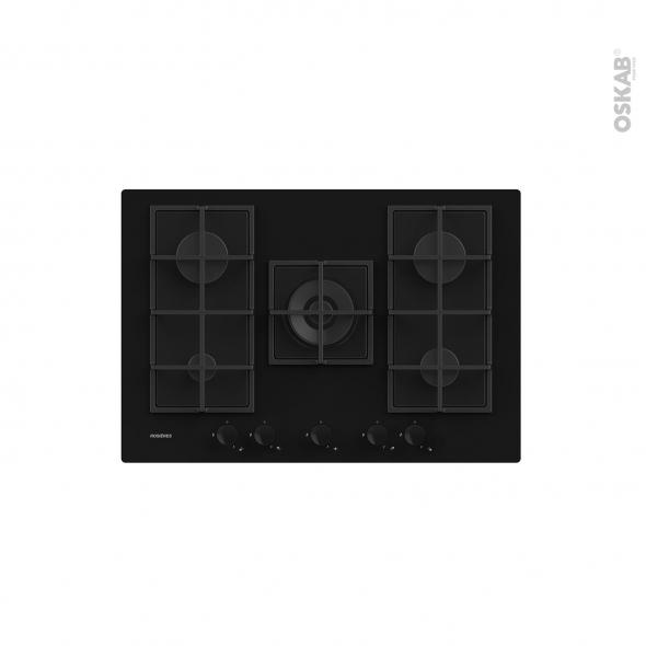 Plaque de cuisson 5 feux - Gaz 75 cm - Verre Noir -  ROSIERES - RDK74MBB
