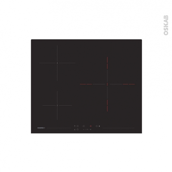 Plaque Vitro - 3 foyers - Verre Noir - ROSIERES -  RKH63TCT/1