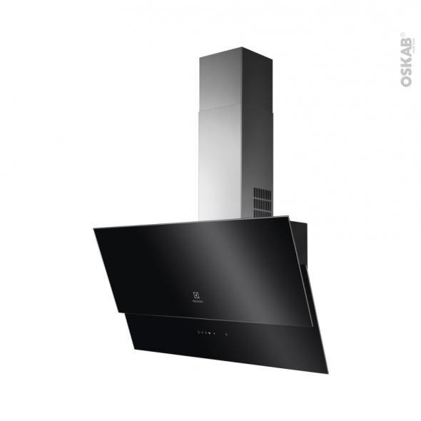 Hotte de cuisine aspirante - Inclinée 80cm - Verre Noir - ELECTROLUX - EFV618K