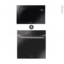 Pack design assorti - Electroménager encastrable - Verre Noir et Inox - Four pyrolyse 70L - Micro-ondes 28L - ROSIERES