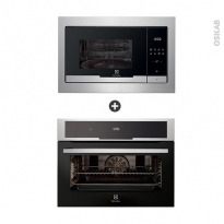 Pack design assorti - Electroménager encastrable - Inox - Four pyrolyse 43L - Micro-ondes 25L  - ELECTROLUX