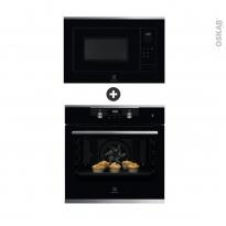 Pack design assorti - Electroménager encastrable - Noir et Inox - Four pyrolyse 72L - Micro-ondes 25L - ELECTROLUX