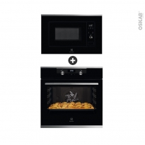Pack design assorti - Electroménager encastrable - Noir - Four catalyse 72L - Micro-ondes 20L - ELECTROLUX