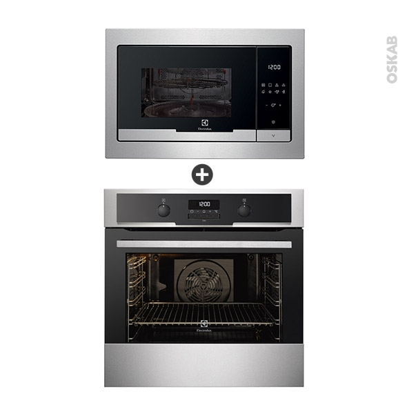 Pack design assorti - Electroménager encastrable - Inox - Four pyrolyse 72L - Micro-ondes 25L  - ELECTROLUX
