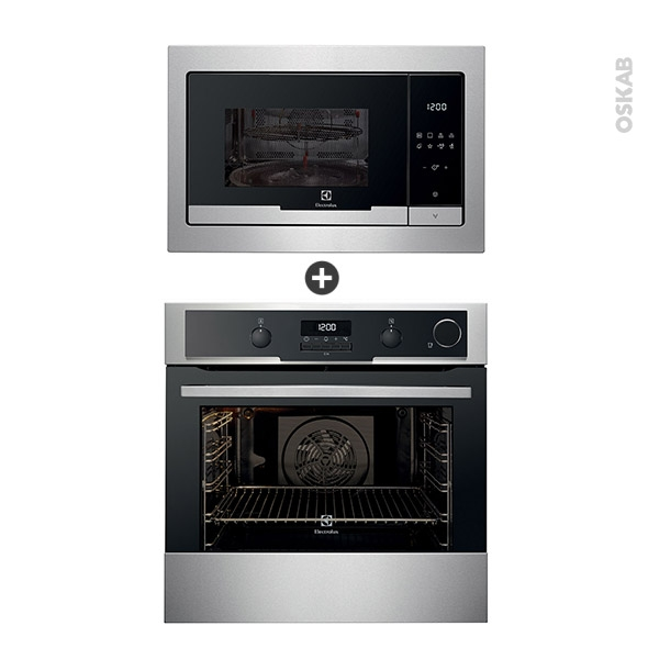 Pack design assorti - Electroménager enastrable - Inox - Four pyrolyse 72L - Micro-ondes 25L - ELECTROLUX