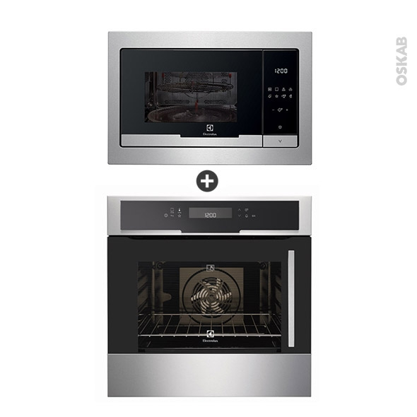 Pack design assorti - Electroménager encastrable - Inox - Four pyrolyse 68L - Micro-ondes 25L - ELECTROLUX