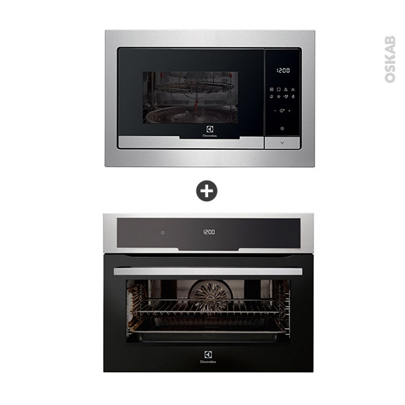 Pack électroménager design - Four Pyrolyse EVK5840AAX - Micro-Ondes EMT25207OX - Inox - ELECTROLUX