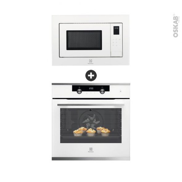 Pack design assorti - Electroménager encastrable - Blanc - Four pyrolyse 72L - Micro-ondes 25L - ELECTROLUX