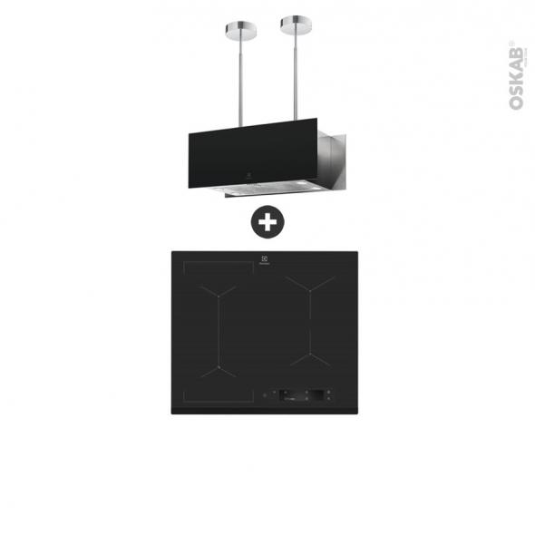 Pack design assorti - Electroménager encastrable - Hob 2 Hood - Plaque induction 4 foyers - Hotte îlot 90cm - ELECTROLUX