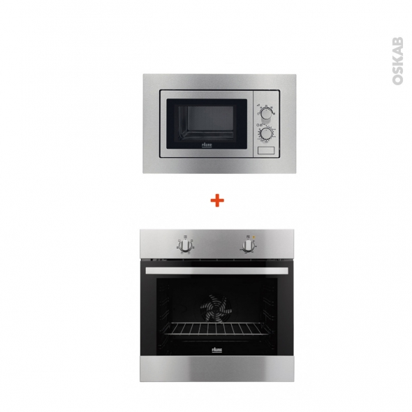 Pack cuisson - Electroménager encastrable - Inox - Four catalyse 72L - Micro-ondes 17L - FAURE