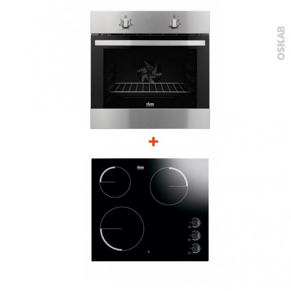 Pack cuisson - Electroménager encastrable - Inox et noir - Four catalyse 72L - Plaque vitrocéramique 3 feux - FAURE