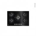 Plaque de cuisson 5 feux - Gaz 74 cm - Verre Noir - ELECTROLUX - KGG7538K