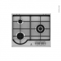 Plaque de cuisson 3 feux - Gaz 60 cm - Email Inox - ELECTROLUX - EGH6333BOX
