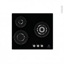 Plaque de cuisson 3 feux - Gaz 60 cm - Verre noir - ELECTROLUX - EGT6633NOK