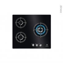 Plaque de cuisson 3 feux - Gaz 60 cm - Verre Noir -  ELECTROLUX - EGO68330BA
