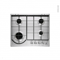 Plaque gaz - 4 foyers L60cm - Email Inox - ELECTROLUX - EGH6242BOX