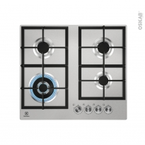 Plaque de cuisson 4 feux - Gaz 60 cm - Inox - ELECTROLUX -  KGU64361X