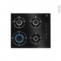 Plaque de cuisson 4 feux - Gaz 60 cm - Verre Noir -  ELECTROLUX - KGG6407K