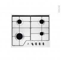 Plaque de cuisson 4 feux - Gaz 60 cm - Email Blanc - ELECTROLUX - KGS6424W