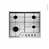 Plaque de cuisson 4 feux - Gaz 60 cm - Email Inox - ELECTROLUX - KGS6424X