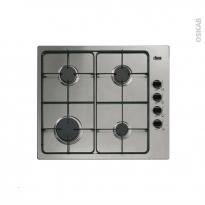 Plaque de cuisson 4 feux - Gaz 60 cm - Email Inox - FAURE - FGG62414XA