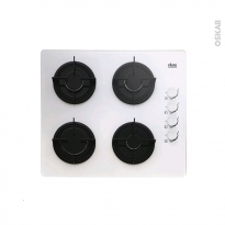 Plaque de cuisson 4 feux - Gaz 60 cm - Verre Blanc - FAURE - FGO62414WA