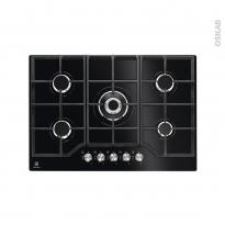 Plaque de cuisson 5 feux - Gaz 70 cm - Verre Noir - ELECTROLUX - KGG7536K