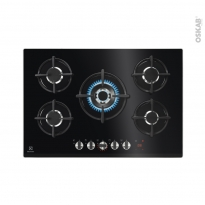 Plaque gaz - 5 foyers - Verre Noir - ELECTROLUX - KGG75375K