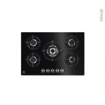 Plaque de cuisson 5 feux - Gaz 75cm - Verre Noir - ELECTROLUX - KGG7538K