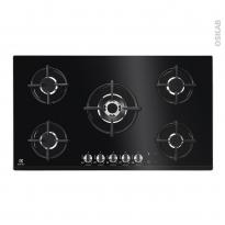 Plaque de cuisson 5 feux - Gaz 90 cm - Verre Noir - ELECTROLUX - KGG9538K