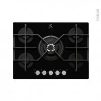 Plaque de cuisson 5 feux - Gaz 70 cm - Verre Noir - ELECTROLUX - EGT7353YOK