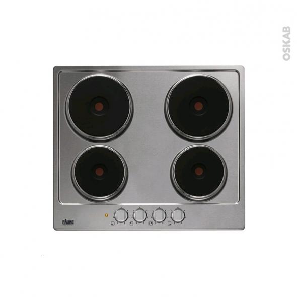 Plaque électrique - 4 foyers L60cm - Email Inox - FAURE - FEE6940FXA