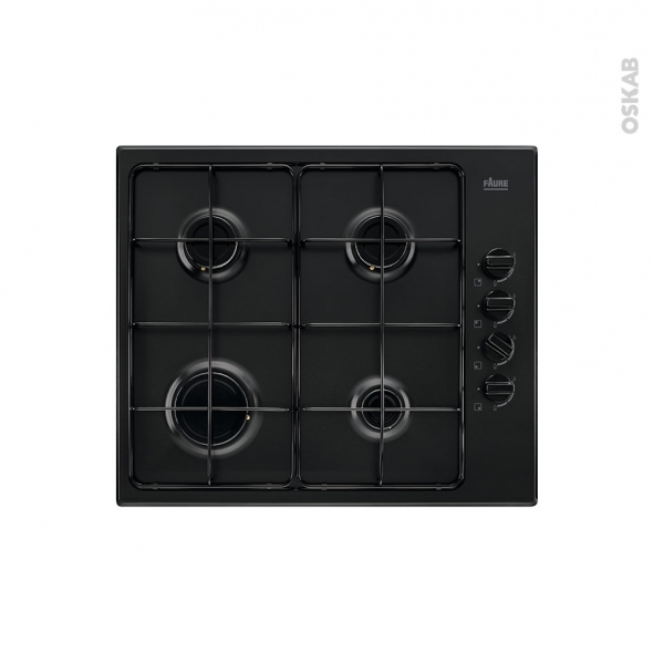 Plaque de cuisson 4 feux - Gaz 60 cm - Noir - FAURE - FGH62414BA