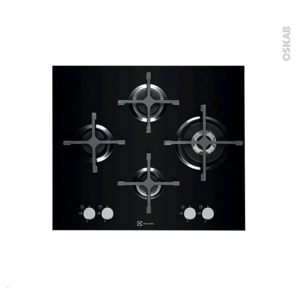 Plaque de cuisson 4 feux - Gaz 60 cm - Verre Noir - ELECTROLUX - EGT6343LOK
