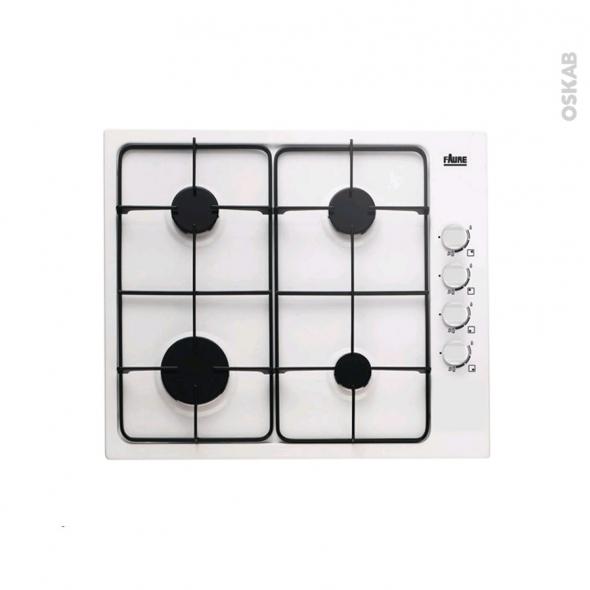 Plaque de cuisson 4 feux - Gaz 60 cm - Email Blanc - FAURE - FGG62414WA