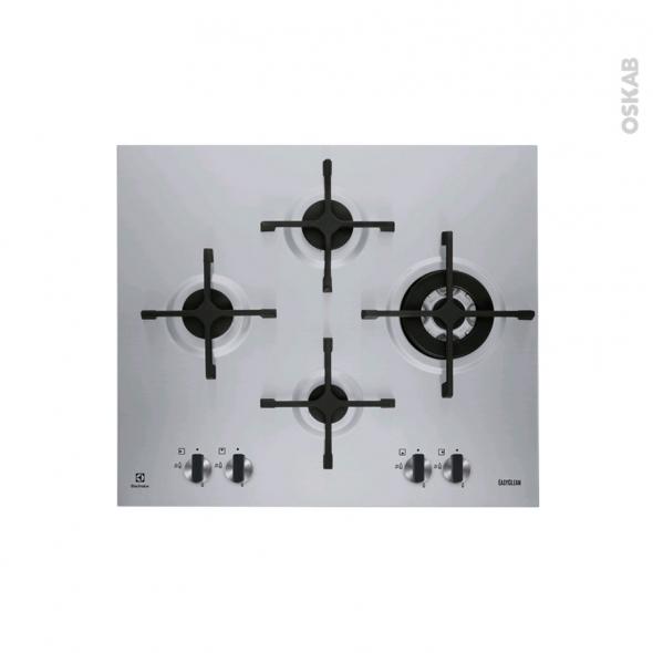 Plaque de cuisson 4 feux - Gaz 60 cm - Inox - ELECTROLUX - EGU6648LXX