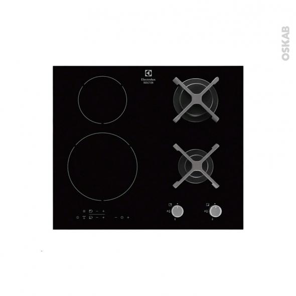 Plaque de cuisson 4 feux - Mixte 60 cm - Verre Noir - ELECTROLUX - EGD6576NOK