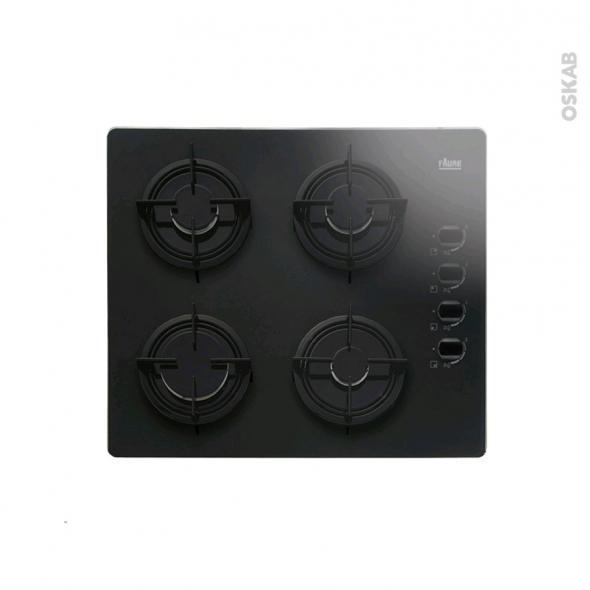 Plaque de cuisson 4 feux - Gaz 60 cm - Verre Noir - FAURE - FGO62414BA