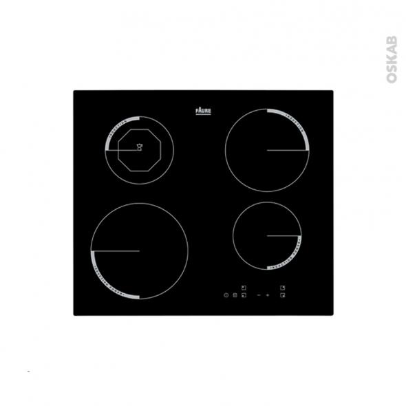 Plaque de cuisson 4 feux - Induction 60 cm - Verre Noir - FAURE - F6204IOK