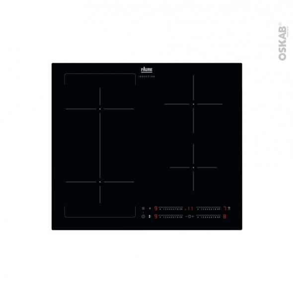 Plaque de cuisson 4 feux - Induction 60 cm - Verre Noir -  FAURE - FIFN644K