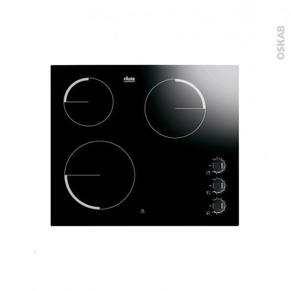 Plaque de cuisson 3 feux - Vitrocéramique 60 cm - Verre Noir - FAURE - FEV6131FBA