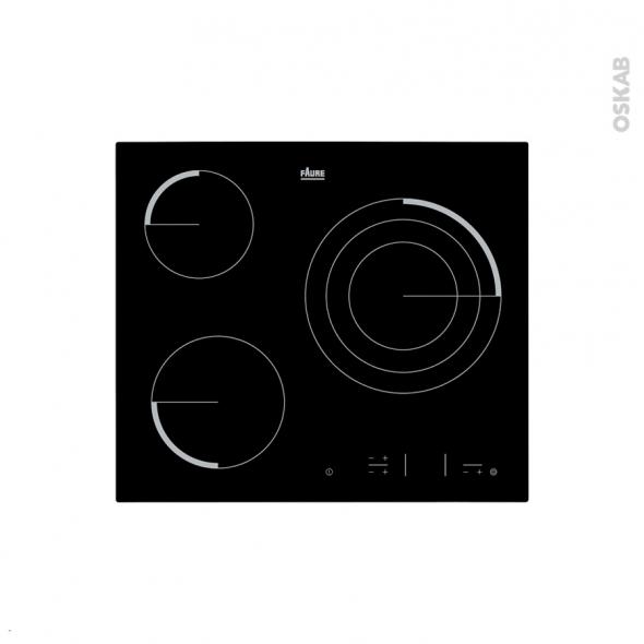 Plaque de cuisson 3 feux - Vitrocéramique 60 cm - Verre noir - FAURE - FEV6334FBA
