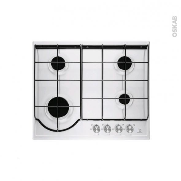 Plaque de cuisson 4 feux - Gaz - Email Blanc - ELECTROLUX - EGH6242BOW