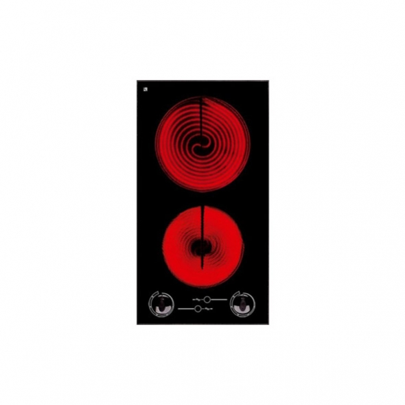 Domino vitro - 2 foyers L30cm - Verre Noir - FRIONOR - PR29AO