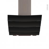 Hotte de cuisine aspirante - Inclinée 90 cm - Verre Noir - SILVERLINE - CITY
