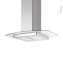 Hotte de cuisine aspirante - Ilot décorative 90 cm - Inox verre - SILVERLINE - KILI