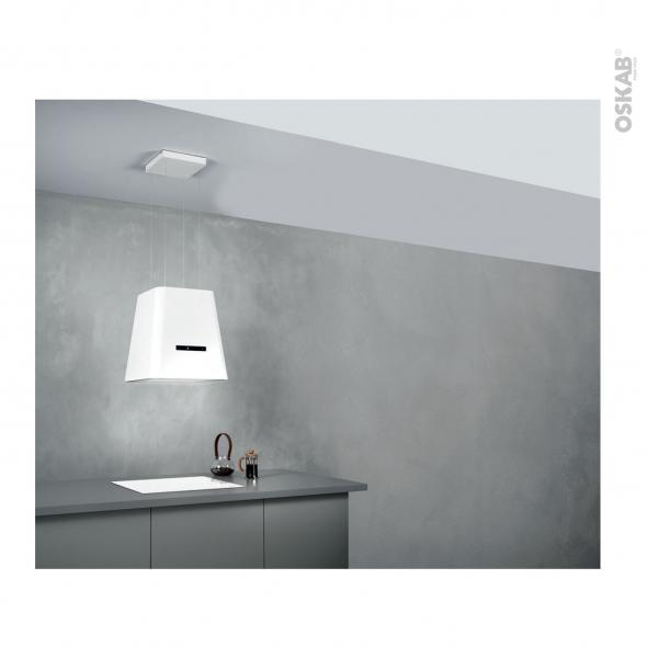 Hotte de cuisine aspirante - Îlot décorative 50cm - Lustre - Blanc mat - SILVERLINE - NEAT