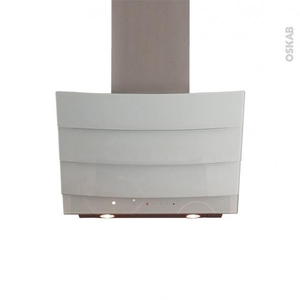 Hotte inclinée - 90cm - Verre Blanc - SILVERLINE - CITY