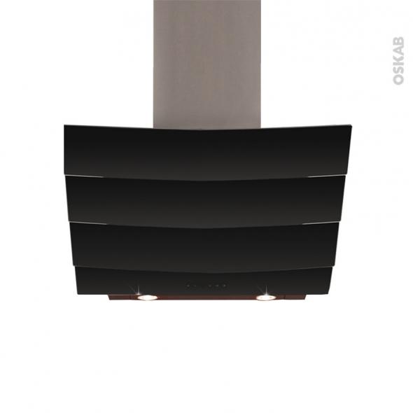 Hotte inclinée - 90cm - Verre Noir - SILVERLINE - CITY