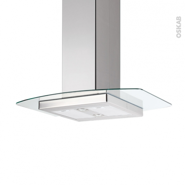 Hotte de cuisine aspirante - Îlot décorative 90 cm - Inox verre - SILVERLINE - KILI